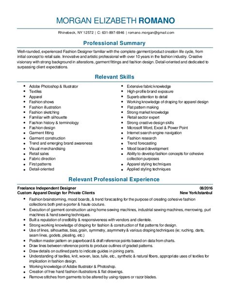 Resume Sles Fashion Designer Fashion Design And Merchandising Resume 2016 Pdf