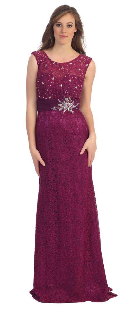 Longdress Crepe Payet modest formal lace dress magenta cap sleeves illusion