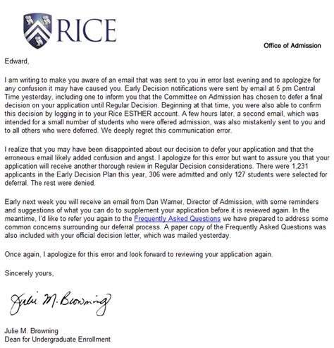 Deferred Acceptance Letter Of Credit My Incomplete Admission Story Riceuniversity