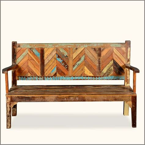 wooden bench with back rustic reclaimed wood parquet high back porch wooden bench