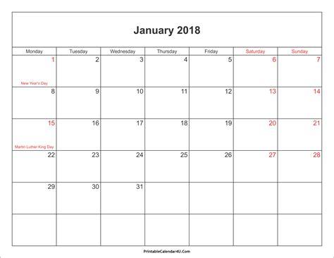 monthly calendar  holidays printable year calendar