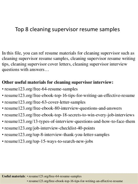 Some Exle Of Resume by Top 8 Cleaning Supervisor Resume Sles