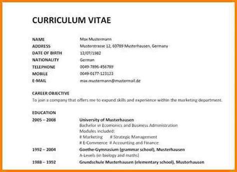 Muster Curriculum Vitae 8 cv englisch muster resignation format