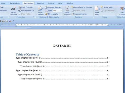 membuat titik titik  daftar isi  word