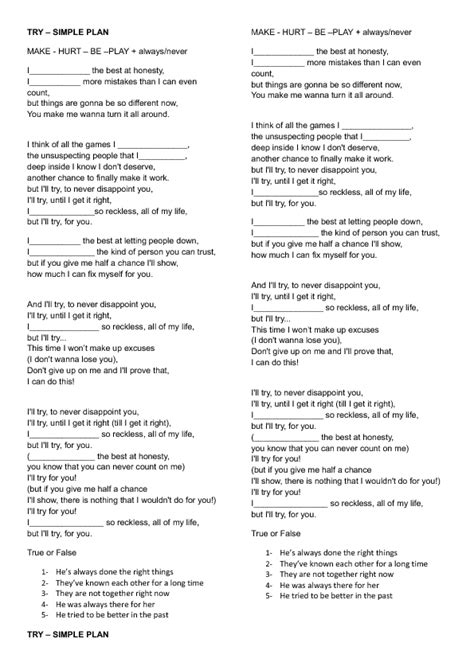 ed sheeran perfect lyrics az song worksheet try by simple plan