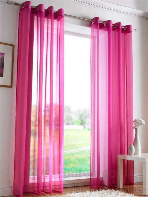 Voile Sheer Curtains Pair Of Sheer Curtain Eyelet Voile Window Curtains Pink 96cm X 220cm New Ebay