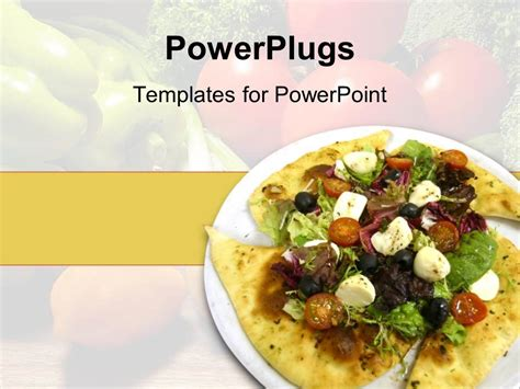 powerpoint template white plate with salad on tortilla