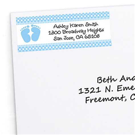 baby shower shipping address return address labels baby feet blue personalized baby shower return address