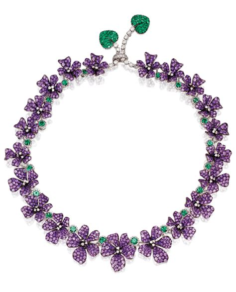 a wonderful amethyst and emerald violet necklace