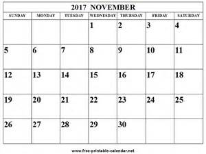 Calendar 2017 November And December Word November 2017 Calendar Print Calendar From Free