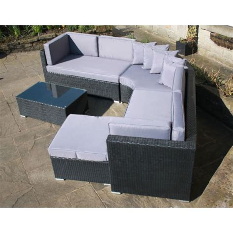Rattan Curved Sofa Rattan Outdoor Curved Corner Sofa Set Garden Furniture In Black