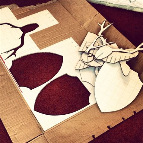 diy cardboard deer template diy cardboard deer on behance