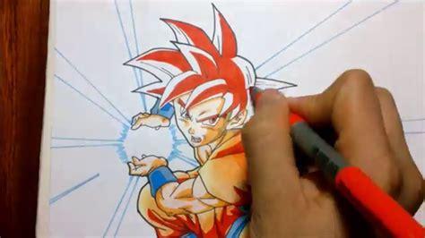 imagenes de goku rojo tutorial como dibujar a goku super saiyajin dios rojo how