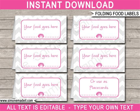 food place cards template theme food labels template place cards birthday