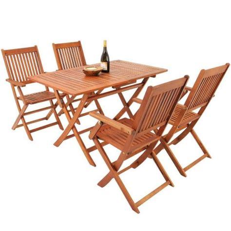 cdiscount table et chaise ensemble 1 table et 4 chaises en bois d acacia pliable