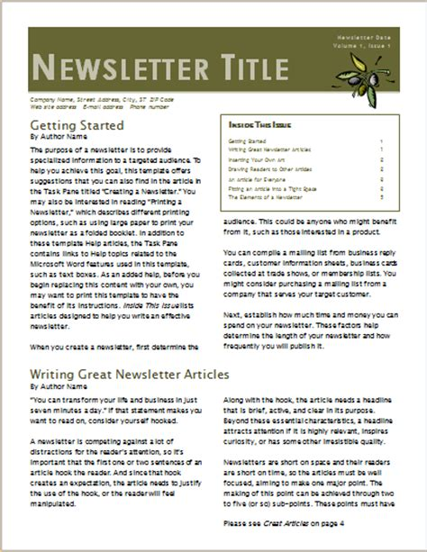 15 Editable Newsletter Templates For Ms Word Document Hub 2 Page Newsletter Template Word