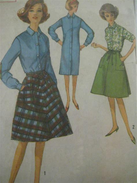 womens shirt pattern uk vintage simplicity 5385 shirt shift dress wrap around
