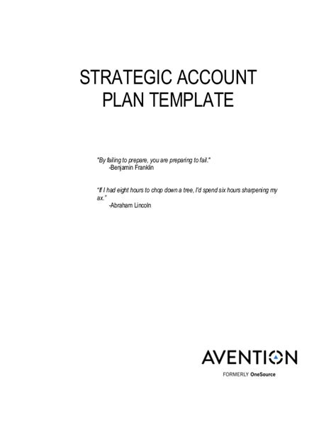 Strategic Account Plan Template Strategic Account Plan Template