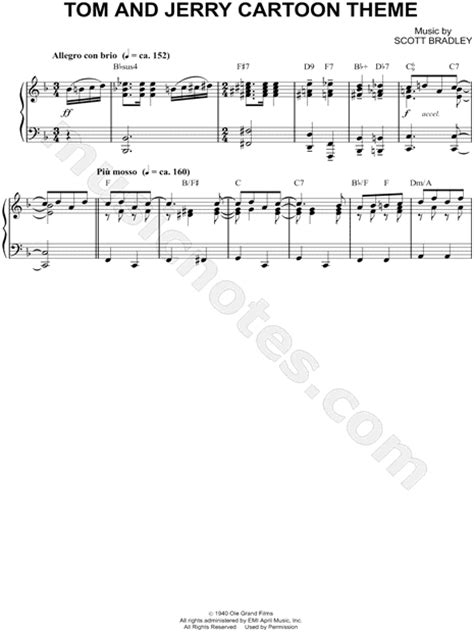 cartoon themes piano scott bradley quot tom and jerry cartoon theme quot sheet music