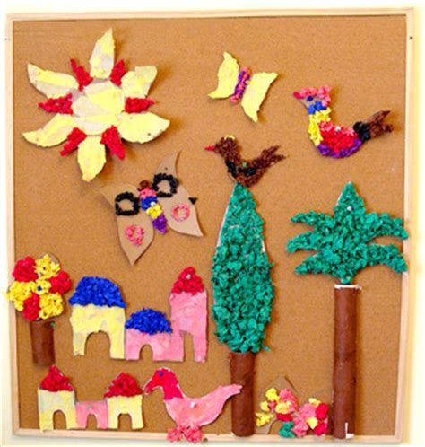 Paper Crumpling Craft - crumpled tissue paper mural things to make and do