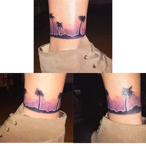 palm tattoo pain wrap around ankle sunset palm tree purple sunset