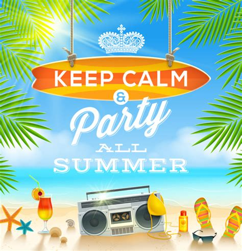 Charming Summer Party Poster Template Vectors Free Vector In Encapsulated Postscript Eps Eps Summer Poster Template