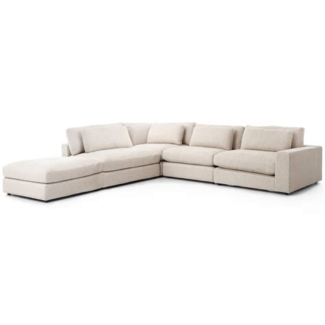 linen section cornerstone modern classic beige linen sectional sofa