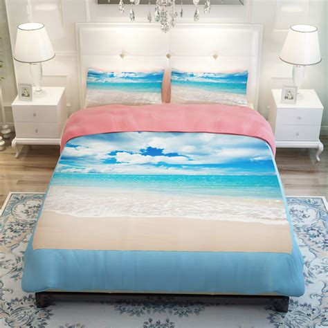 beach comforter sets king size sunset ocean blue sea sandy beach lake scenic bedding sets
