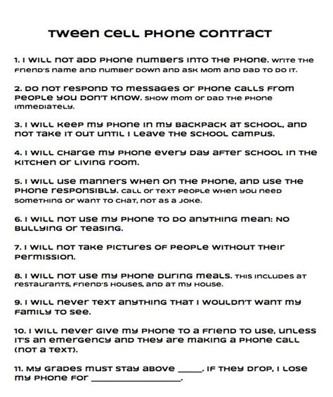 Printable Cell Phone Contract For Tweens