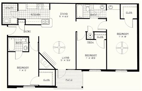 3 floor plans simple 3 bedroom floor plans homes floor plans