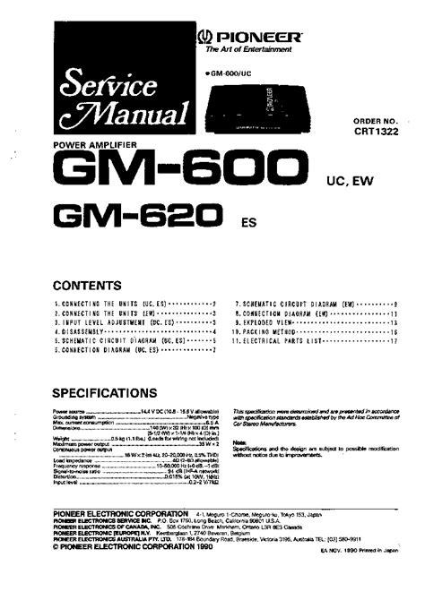 pioneer gm 600 wiring diagram wiring diagram with