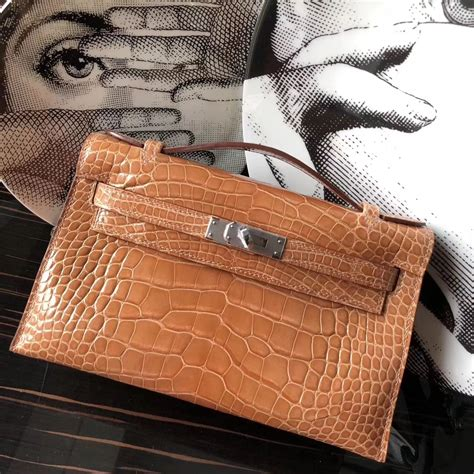 Promo Hermes Tanggal Brown Discount Hermes Brown Shiny Crocodile Minikelly Clutch Bag
