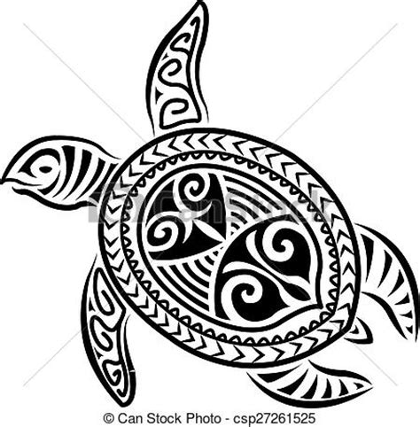 vector illustration of polynesian style turtle