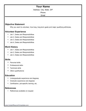 Job Objectives Resume by Volunteer Resume Template