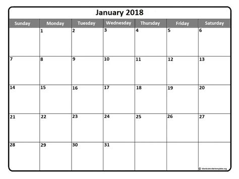 Calendar 2018 Blank Template January 2018 Calendar Template January 2018 Printable