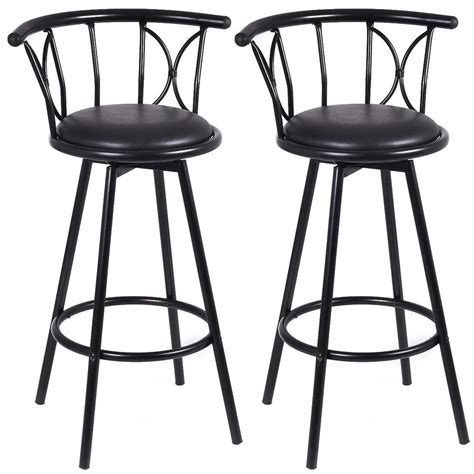 Black Counter Height Swivel Bar Stools by Set Of 2 Black Barstools Modern Swivel Rotatable Chairs