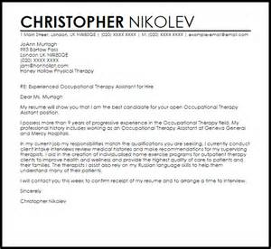 Occupational Therapist Cover Letter by Occupational Therapy Assistant Cover Letter Sle