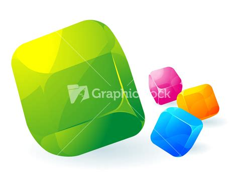 Set Of Four Colorful Abstract Glossy Cubes Isolated Glossy Transparent Vector Cubes