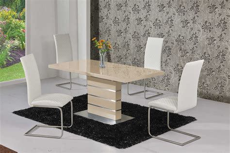 Gloss Dining Table Extending High Gloss Dining Table And 4 White Chairs