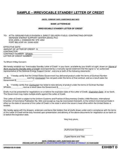Letter Of Credit Fargo Letter Of Credit Sles International Transactions
