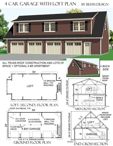 garage plans with loft apartment 4 car garage with loft plans has optional 2 br apartment