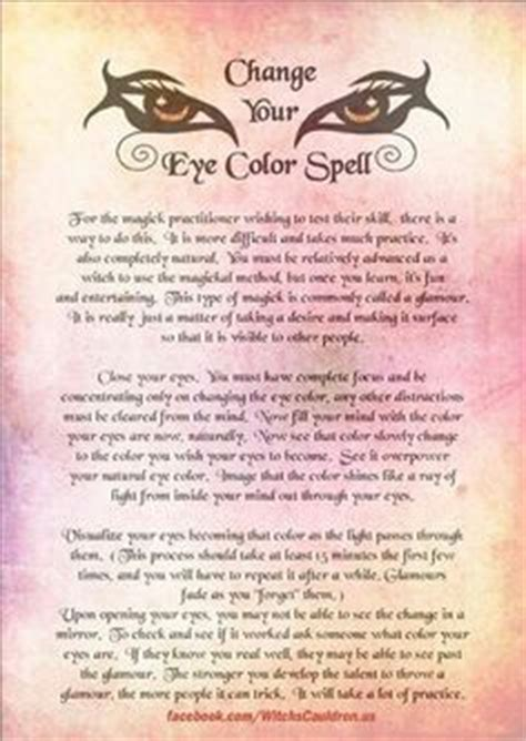how to change your eye color spell details about blessing book of shadows page