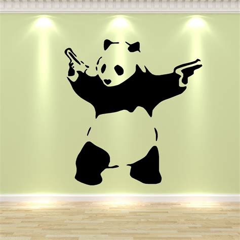 banksy style panda pandamonium vinyl wall art sticker