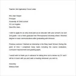 cover letter for teachers application sle letters of application for teaching cover