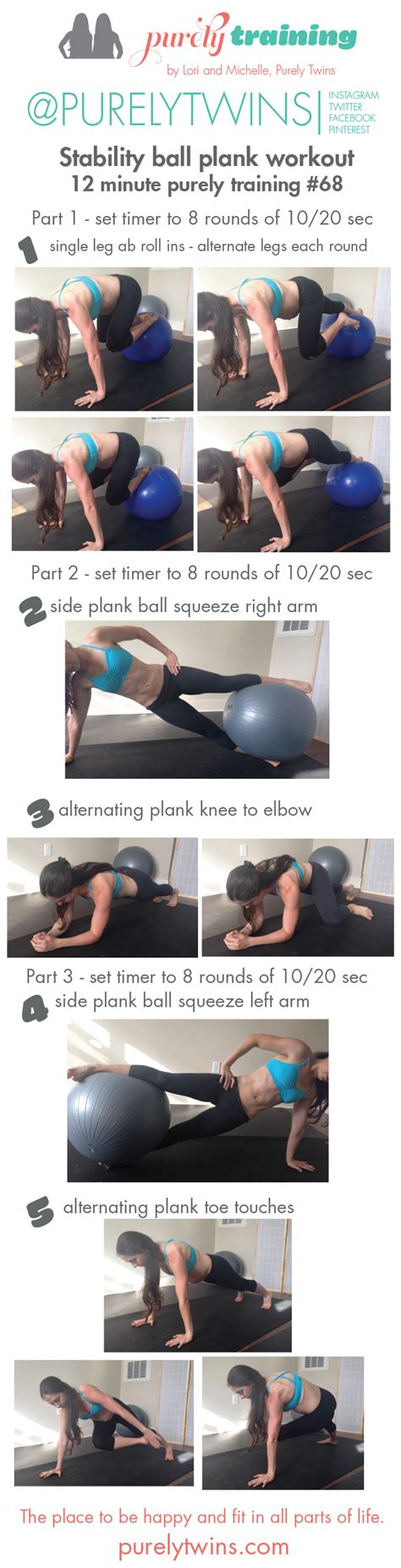 mid section workout 12 minute plank workout using a stability ball