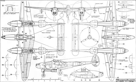 Cabin Blueprints by The P 38 Best Of The Twins W 4 View Drawing April 1971