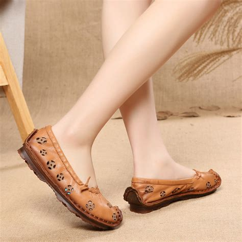 Artmu Retro Shoes Flat - socofy leather color hollow out retro flat shoes us