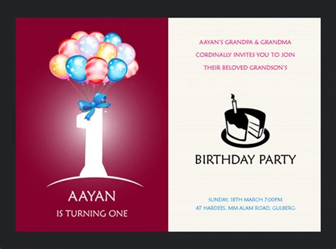 1st birthday card template free birthday invitation templates the design work