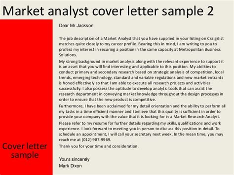 market analyst cover letter market analyst cover letter