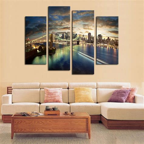 large living room wall art 4 panels city view large hd canvas print painting for